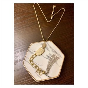Lucky Brand Gold Stone Chain Long Necklace